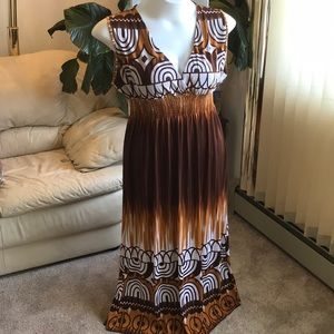 Dresses & Skirts - Tie Dye Brown / White empire maxi print Dress 2x